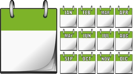 green dates: Green Calendars Illustration