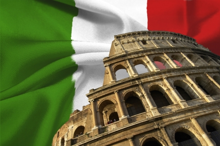 rome italy: Italian flag with colosseum