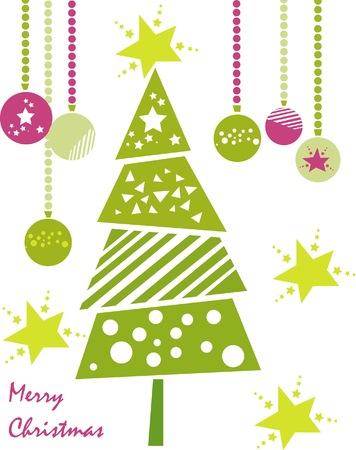 Tarjeta de Navidad con �rbol abstracta, estrellas y bolas