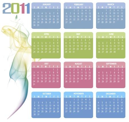 A colorfull 2011 calendar white smoke shape  Stock Vector - 8457640