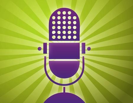 microfono radio: Ilustraci�n vectorial de micr�fono retro