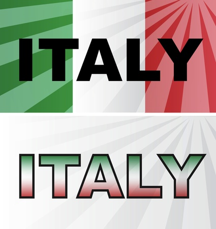 Background with two flags of Italy and the country names. Vector