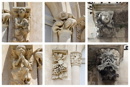 statues of Donnalucata castle in Sicily photo