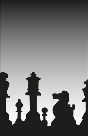 silouette: Silhouettes of various chess pieces.