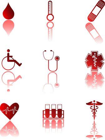 Iconos médicos rojos Ilustración de vector