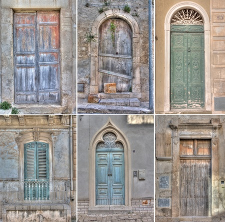 view of a wooden doorway: Collage of doors in Scicli. Sicily