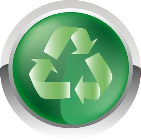 biological waste: Reciclar icono brillante