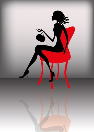 woman on couch: Dark lady on a sofa Illustration