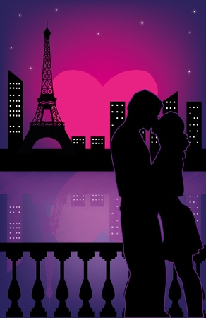 Couple in love at Valentines night Illustration