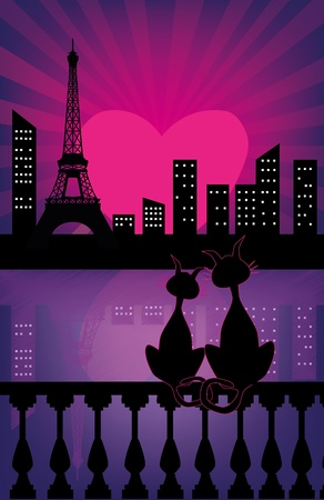 paris at night: Black Cats Silhouettes in love Illustration