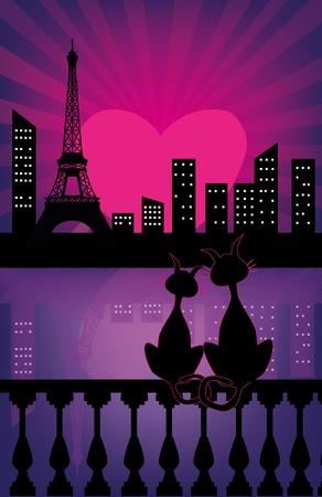 Siluetas de los gatos negros en el amor Vectores