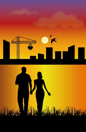 building love over a sunset Vector