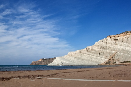 Scala dei Turchi in the province of Agrigento (Sicily). It is consists of a prominent outcrop of white rock on the sea and the form that this monument natural takes is precisely of a staircase. photo