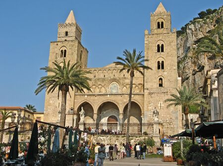 Norman cathedral and piazza Duomo in Cefalu, Sicily
