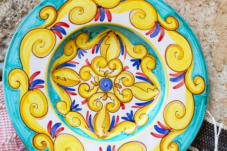 Closeup of a traditional colorful sicilian pottery  photo