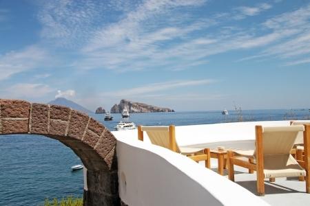 panarea: Terrace - Panarea, Sicily Stock Photo