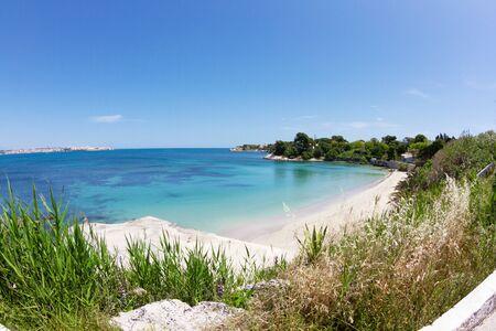 aereal: beautiful coast on the Blue Sea, siracusa, sicily, italy