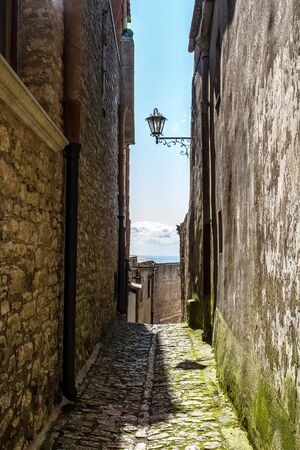 view of ancient road in Erice, Sicily