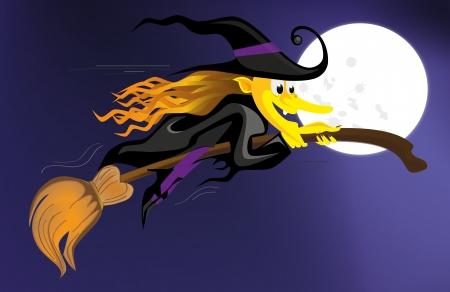 bruja volando sobre un cielo azul oscuro Vectores