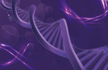 Image of DNA strand against colour background  Stock Photo