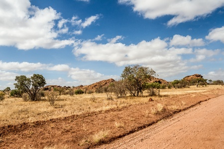 African landscape with dramatic clouds in Tsavo National Park, Kenya photo