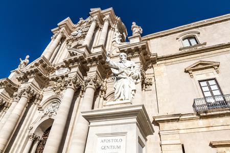 ortigia: The Cathedral  Duomo  of Ortigia in Syracuse, Sicily, Italy Stock Photo