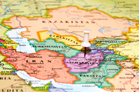 clerical: Map of Afghanistan with a white pushpin stuck Stock Photo