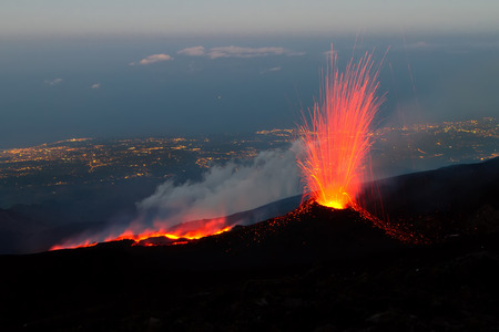 southeast europe: Eruption on Etna 2014 Stock Photo