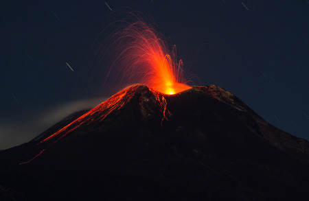 southeast europe: Eruption of the volcano etna