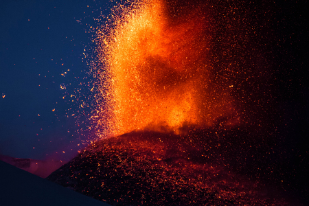 Eruption of the volcano Etna in Sicily, Italy