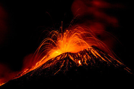 erupting: Eruption of the volcano Etna in Sicily, Italy