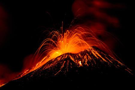 Eruption of the volcano \
