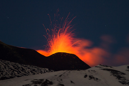 Eruption of Mount Etna in Sicily, Italy