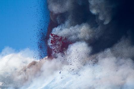 clouding: Etna Eruption, Sicilian Volcano Stock Photo