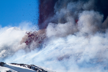 clouding: Etna Eruption, Sicilian Volcano Stock Photo