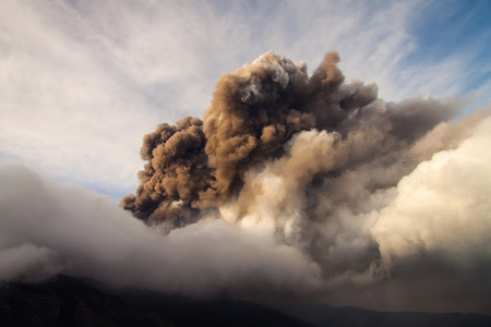 emission of ash During The eruption Stock Photo