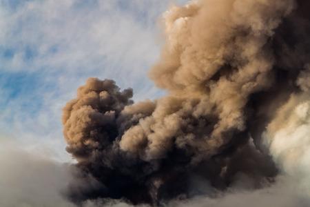 eruption: emission of ash During The eruption Stock Photo