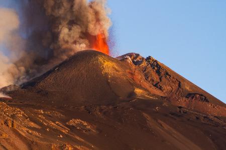 Eruption Etna volcano - Lava flow AA