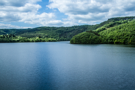 clouding: view of the lake of Esch Sur Sure in Luxembourg