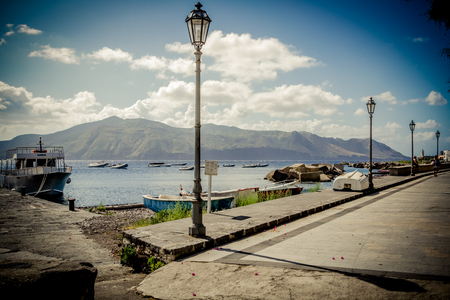aeolian: Port of Salina Aeolian Island  Sicily Italy Stock Photo