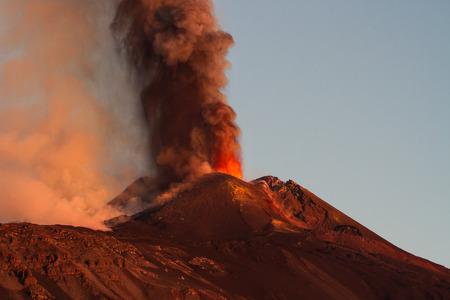 eruption: Etna Volcano Eruption Stock Photo