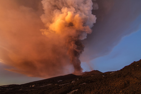 chasm: Volcano eruption. Mount Etna erupting from the crater Chasm