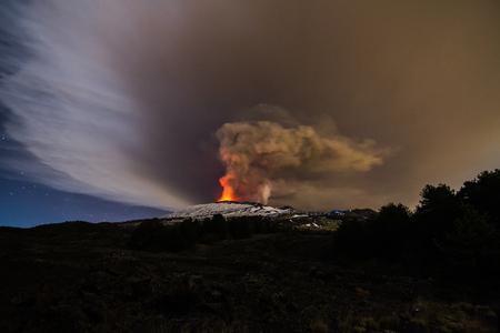 erupting: Volcano eruption. Mount Etna erupting from the crater Chasm