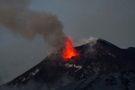 eruption: Volcano eruption. Mount Etna erupting from the crater Chasm