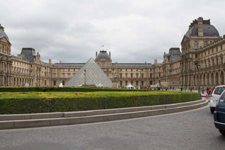 louvre pyramid: View Louvre building of Louvre Museum and Pyramid Editorial