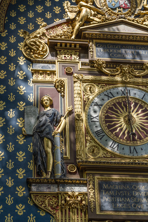 henri: horloge at the city palace in Paris. The clock was constructed by Henri de Vic in 1370. Stock Photo