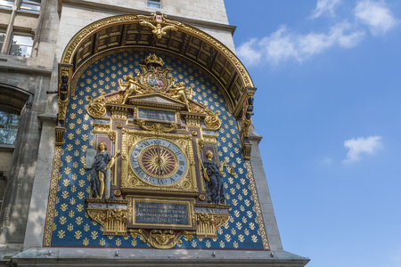 horloge at the city palace in Paris. The clock was constructed by Henri de Vic in 1370. Stock Photo