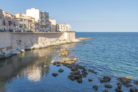 ortigia: Coast of Ortigia island at city of Syracuse, Sicily, Italy