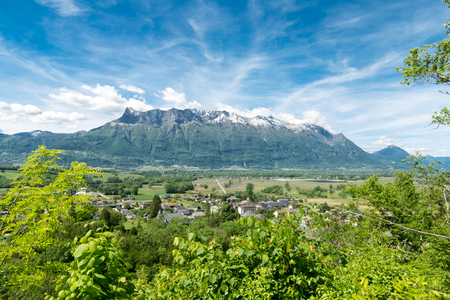 Frontal view of French Alps, blue sky