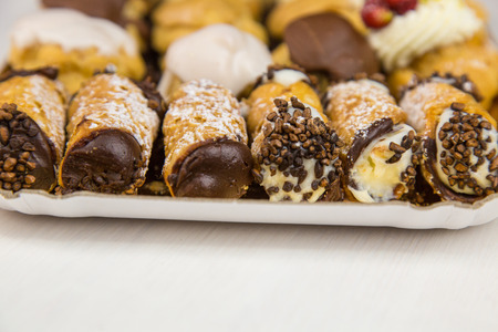 Isolated Sicilian pastry on rectangular tray
